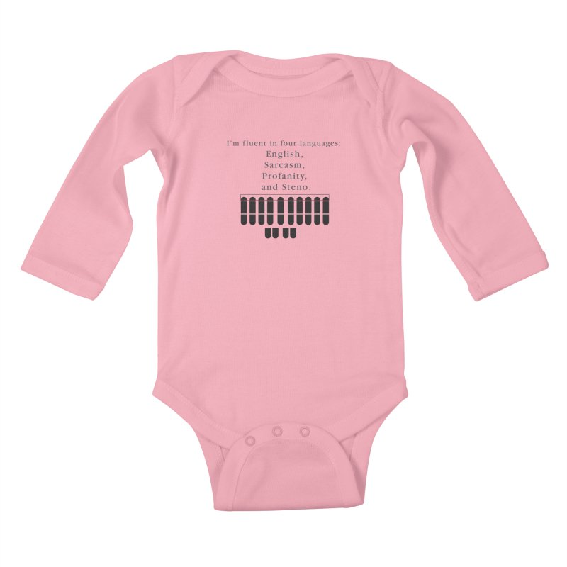 Fluent in Four Languages Kids Baby Longsleeve Bodysuit by Stenograph's Artist Shop