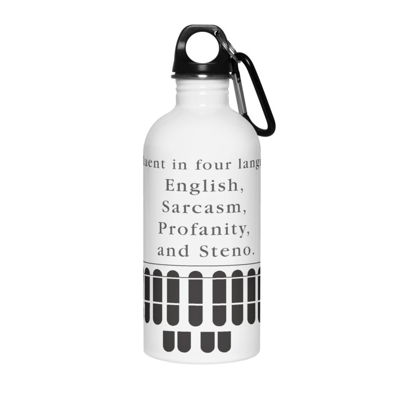 Fluent in Four Languages Accessories Water Bottle by Stenograph's Artist Shop