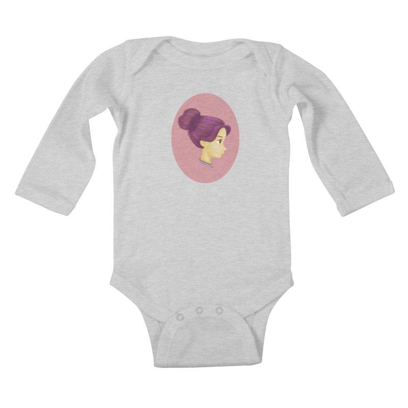 Messy Bun Girl Kids Baby Longsleeve Bodysuit by stephanie's Artist Shop