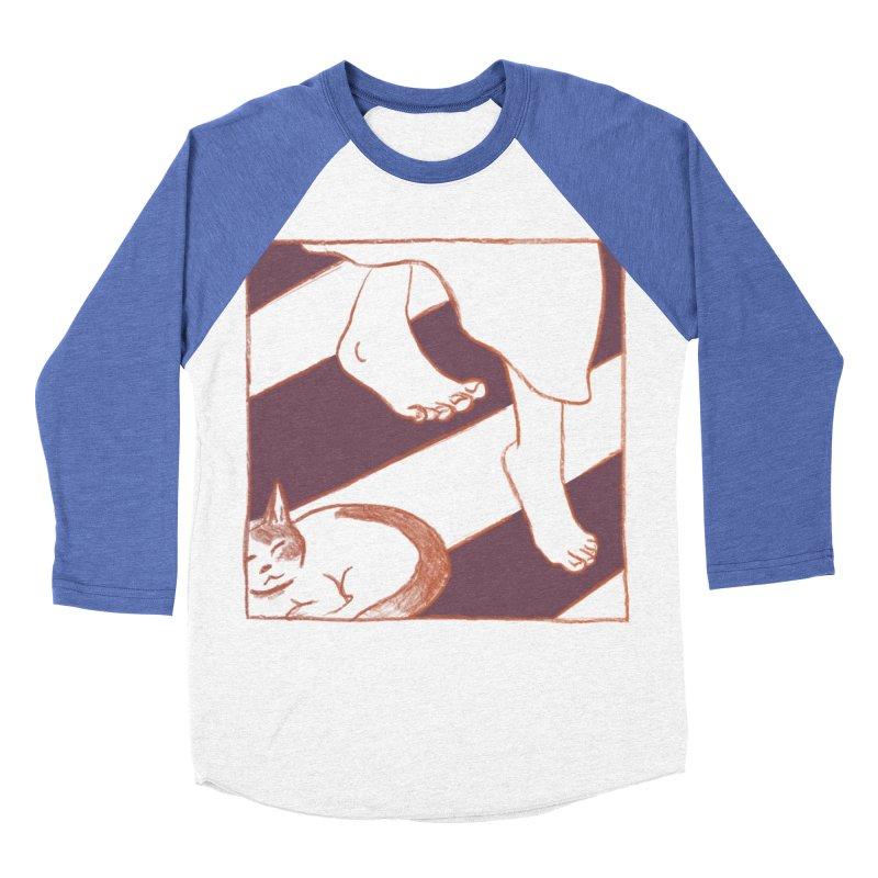 Sleepy Kitty Women's Baseball Triblend Longsleeve T-Shirt by Stephanie Gobby's Artist Shop