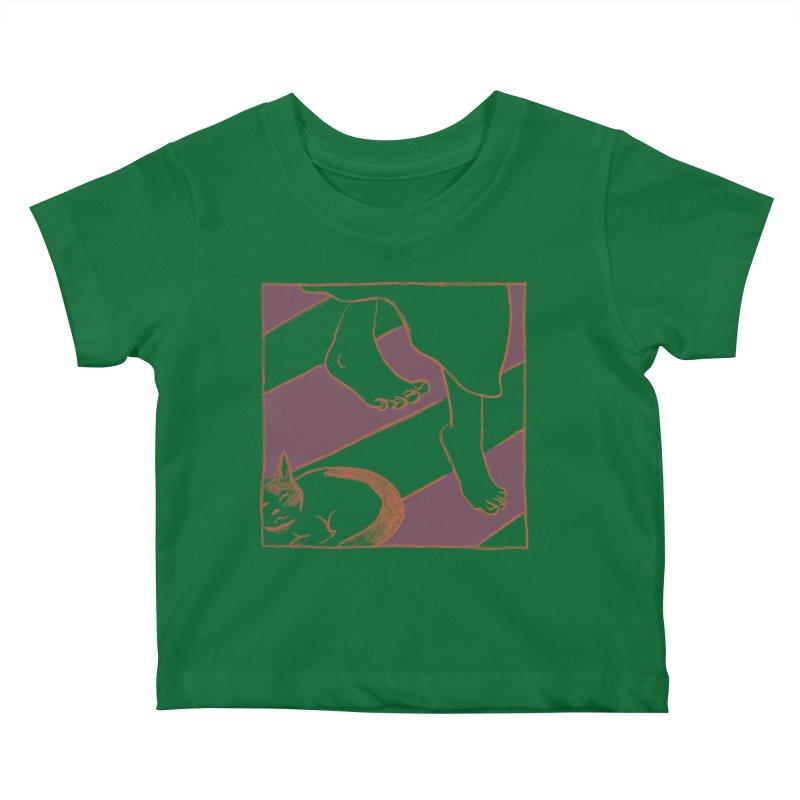Sleepy Kitty Kids Baby T-Shirt by Stephanie Gobby's Artist Shop