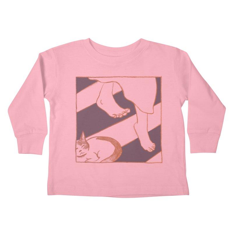 Sleepy Kitty Kids Toddler Longsleeve T-Shirt by Stephanie Gobby's Artist Shop