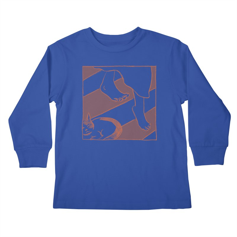 Sleepy Kitty Kids Longsleeve T-Shirt by Stephanie Gobby's Artist Shop