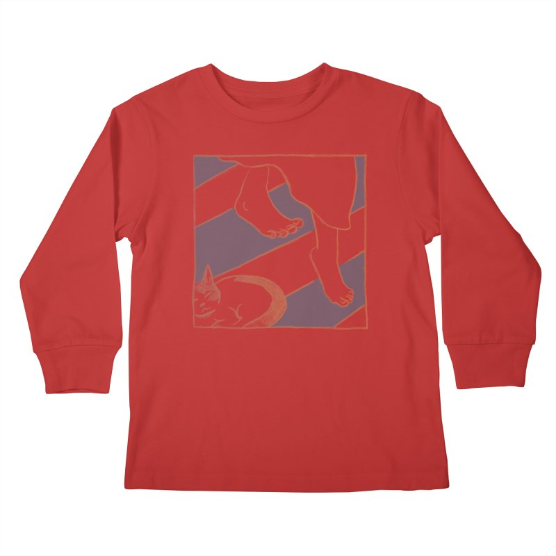 Sleepy Kitty Kids Longsleeve T-Shirt by Stephanie Gobby's Artist Shop