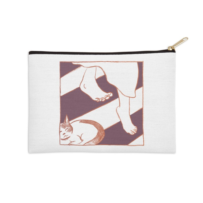 Sleepy Kitty Accessories Zip Pouch by Stephanie Gobby's Artist Shop