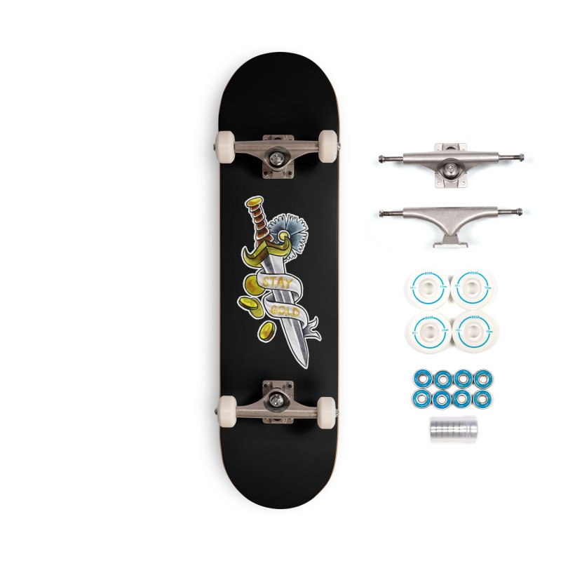 Stay Gold Dagger Accessories Skateboard by Stephanie Gobby's Artist Shop