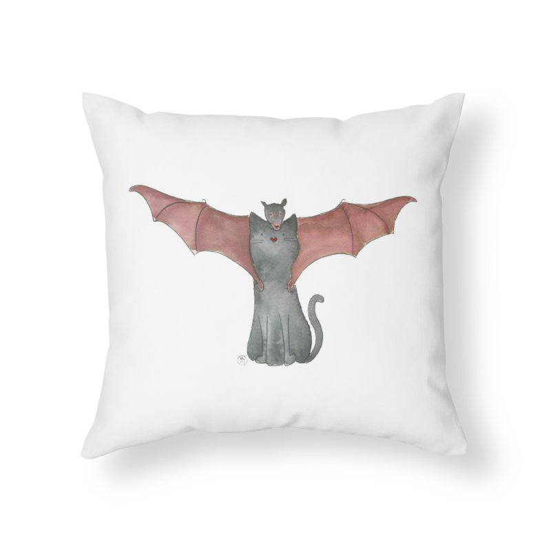 Battycat Home Throw Pillow by Stephanie Inagaki
