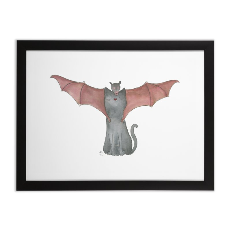 Battycat Home Framed Fine Art Print by Stephanie Inagaki