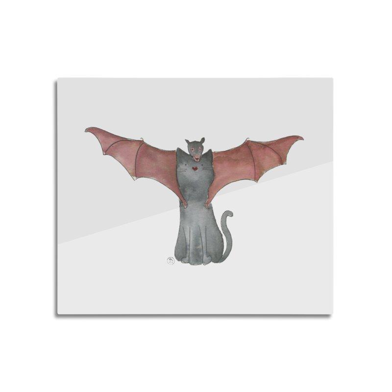 Battycat Home Mounted Aluminum Print by Stephanie Inagaki