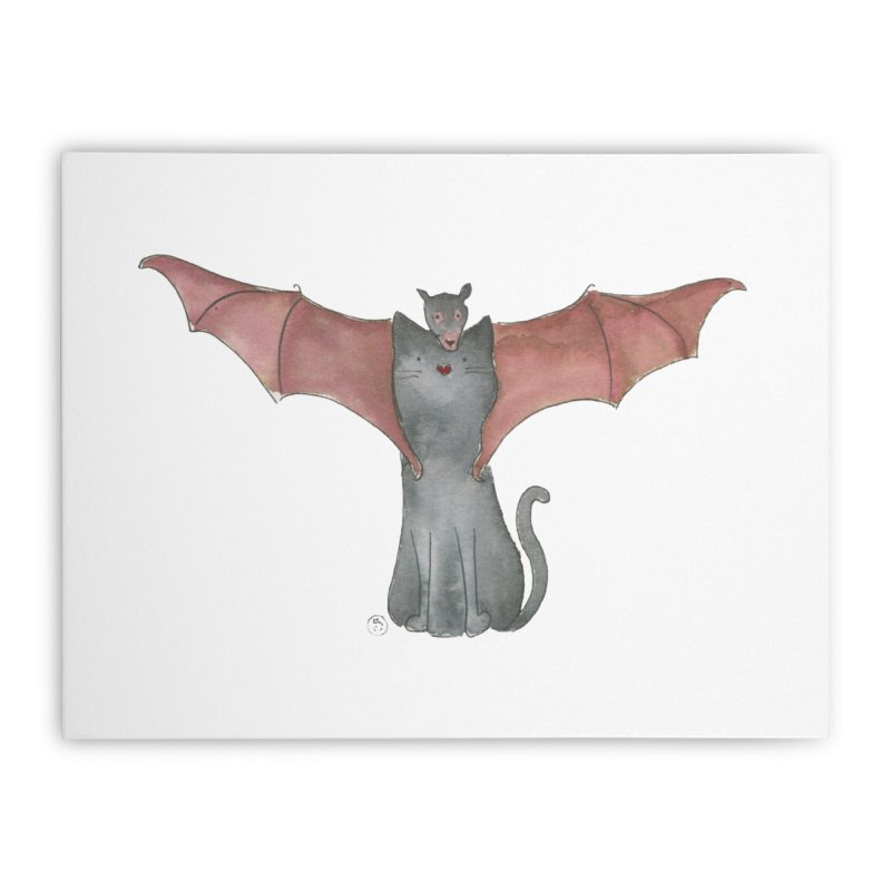 Battycat Home Stretched Canvas by Stephanie Inagaki