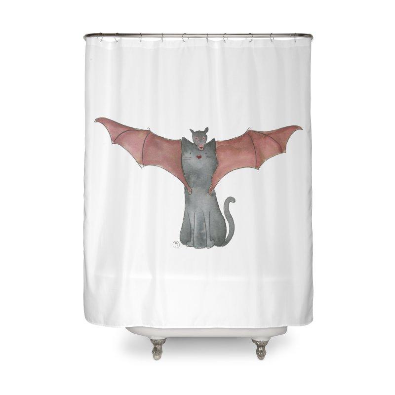 Battycat Home Shower Curtain by Stephanie Inagaki