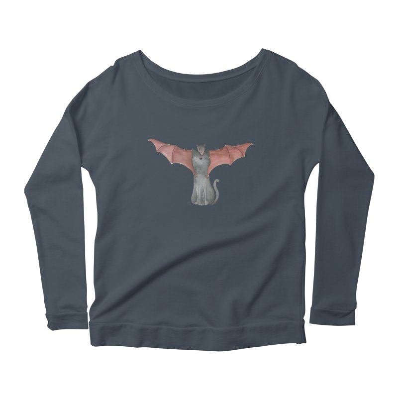 Battycat Women's Scoop Neck Longsleeve T-Shirt by Stephanie Inagaki
