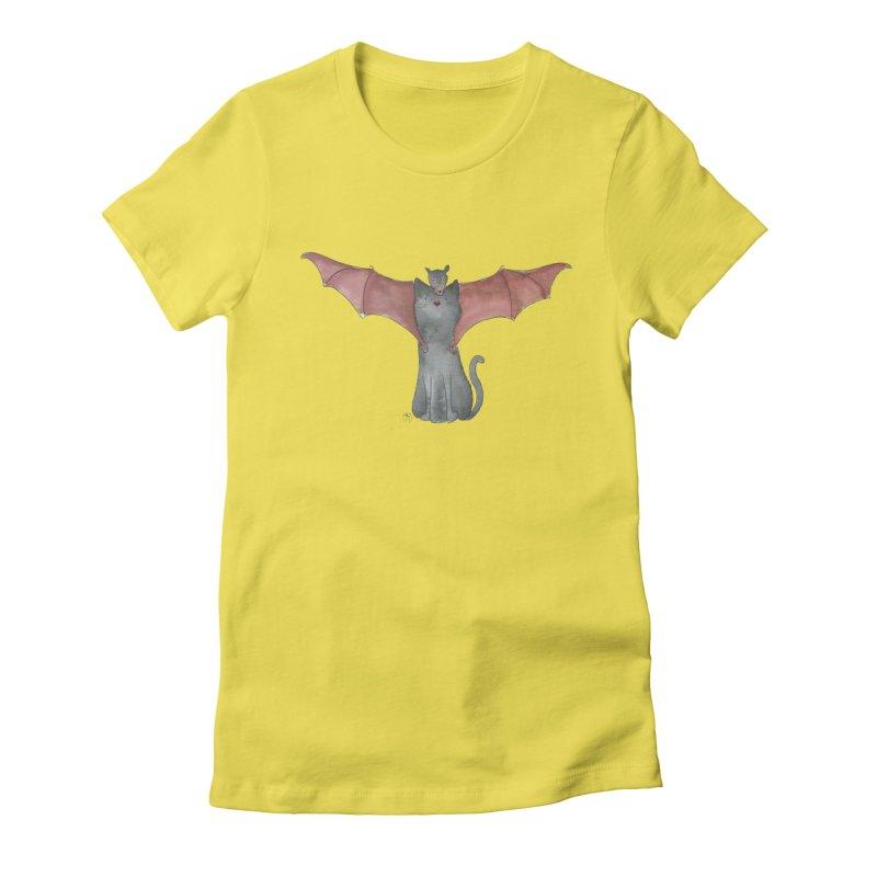 Battycat Women's Fitted T-Shirt by Stephanie Inagaki