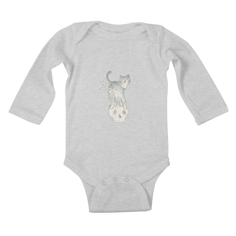 Kitty Sparkles Kids Baby Longsleeve Bodysuit by Stephanie Inagaki