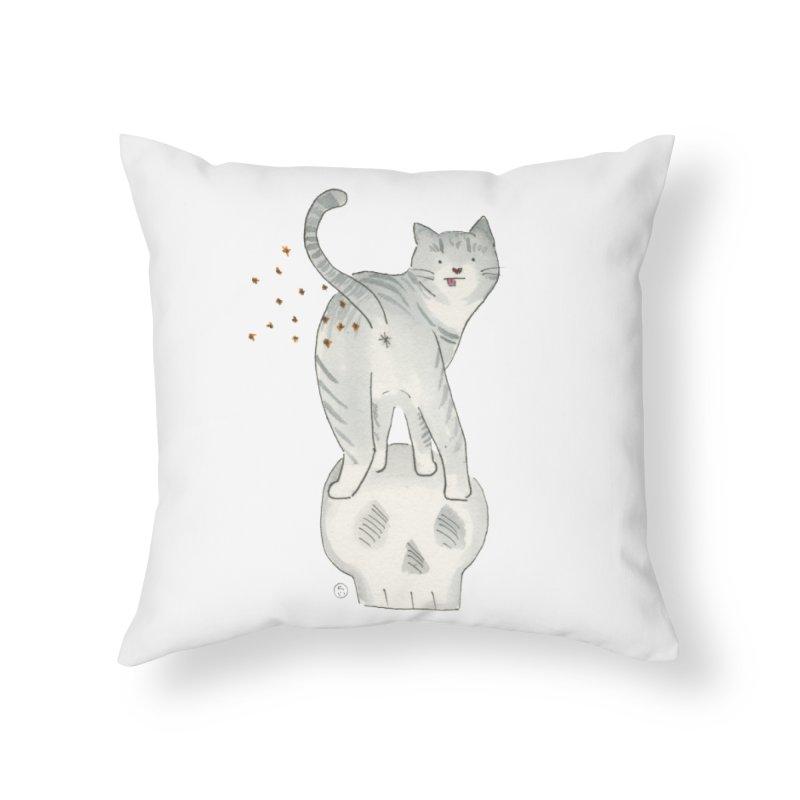 Kitty Sparkles Home Throw Pillow by Stephanie Inagaki