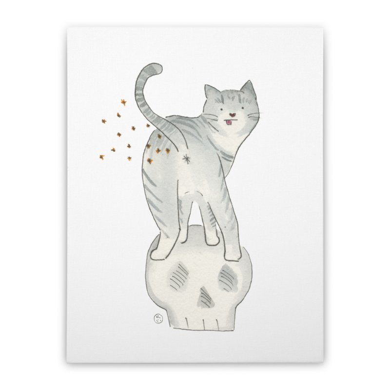 Kitty Sparkles Home Stretched Canvas by Stephanie Inagaki