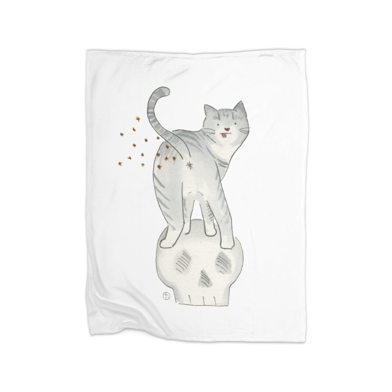 Kitty Sparkles Home Fleece Blanket Blanket by Stephanie Inagaki