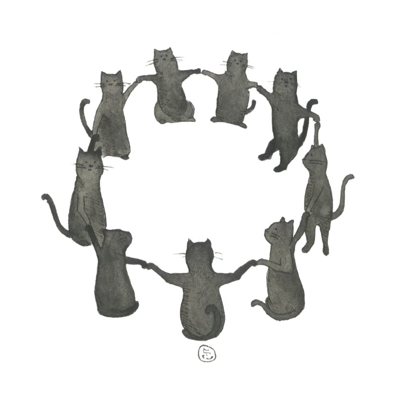 Kitty Coven Home Mounted Aluminum Print by Stephanie Inagaki