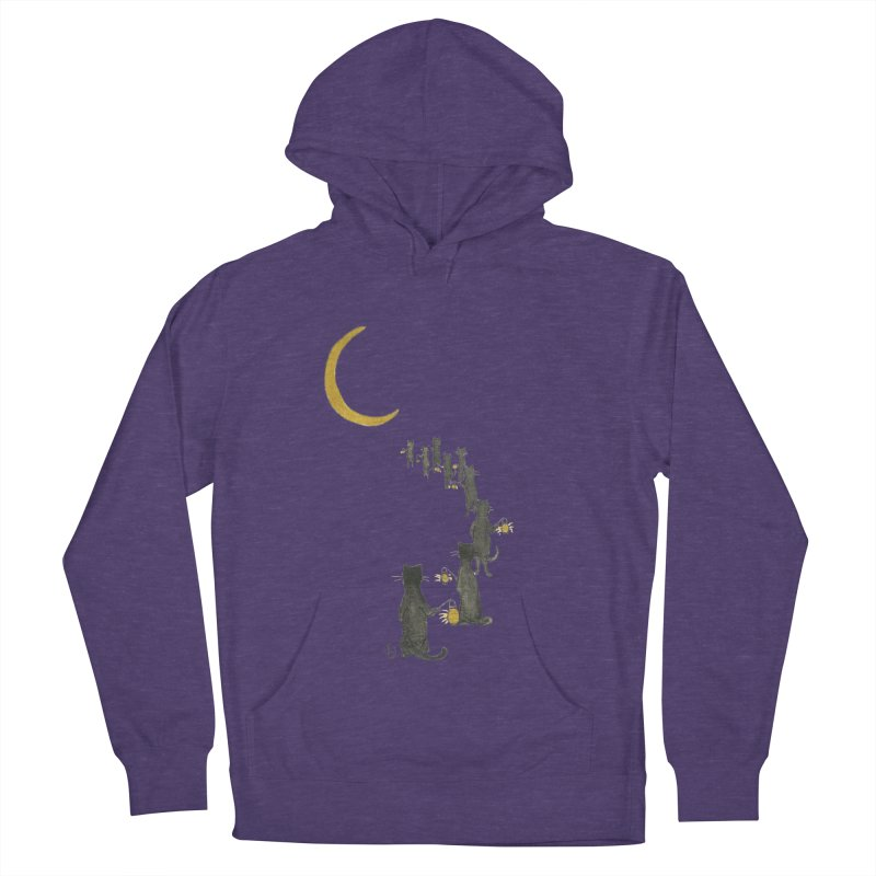 Neko Night Procession  Women's French Terry Pullover Hoody by Stephanie Inagaki