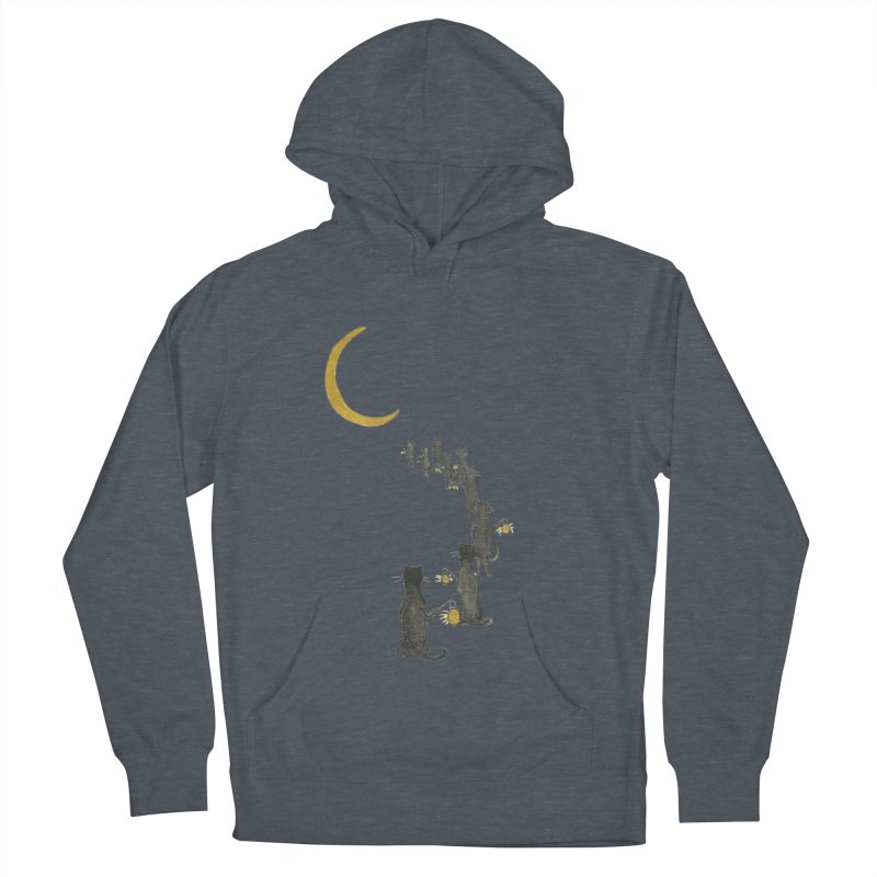 Neko Night Procession  Men's French Terry Pullover Hoody by Stephanie Inagaki