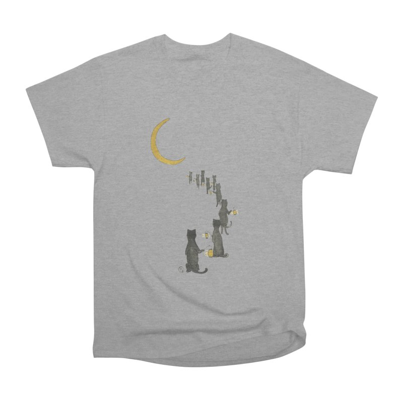 Neko Night Procession  Men's Heavyweight T-Shirt by Stephanie Inagaki