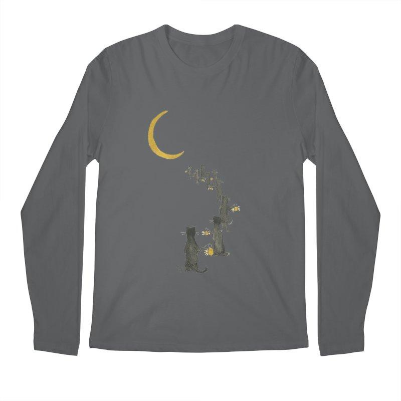 Neko Night Procession  Men's Regular Longsleeve T-Shirt by Stephanie Inagaki