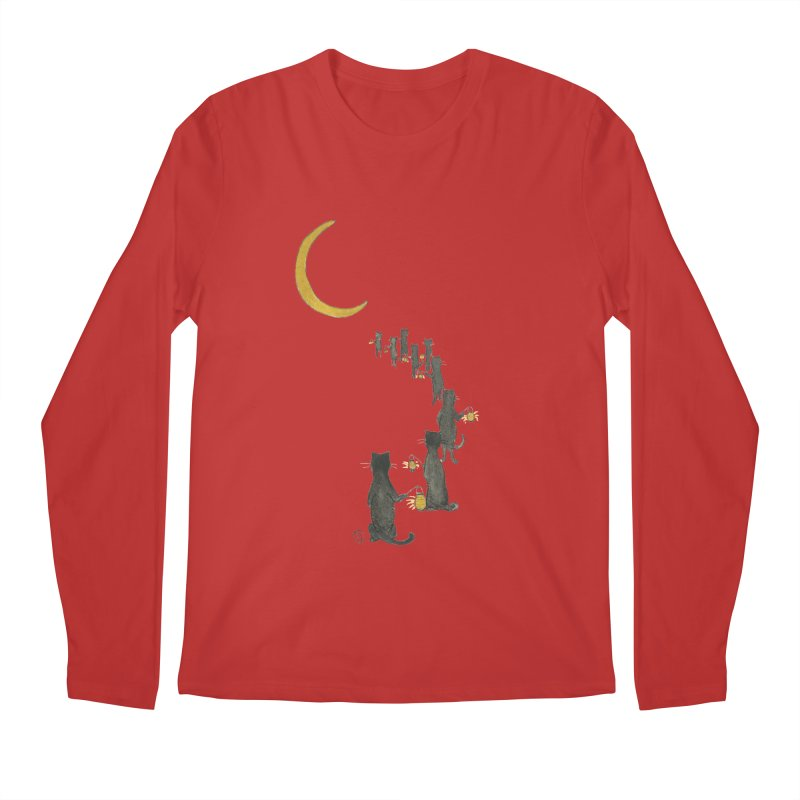 Neko Night Procession  Men's Regular Longsleeve T-Shirt by Stephanie Inagaki