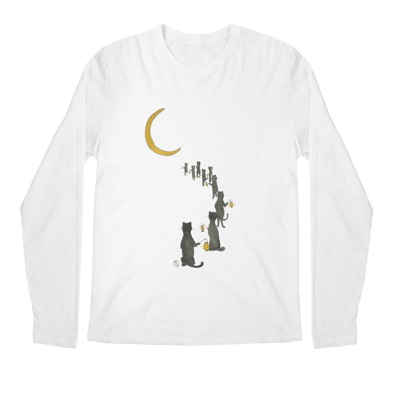 Neko Night Procession  Men's Regular Longsleeve T-Shirt by stephanieinagaki's Artist Shop