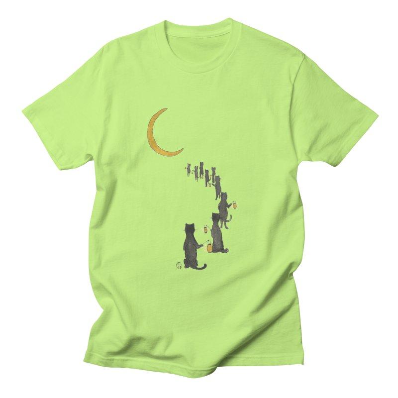 Neko Night Procession  Men's Regular T-Shirt by stephanieinagaki's Artist Shop