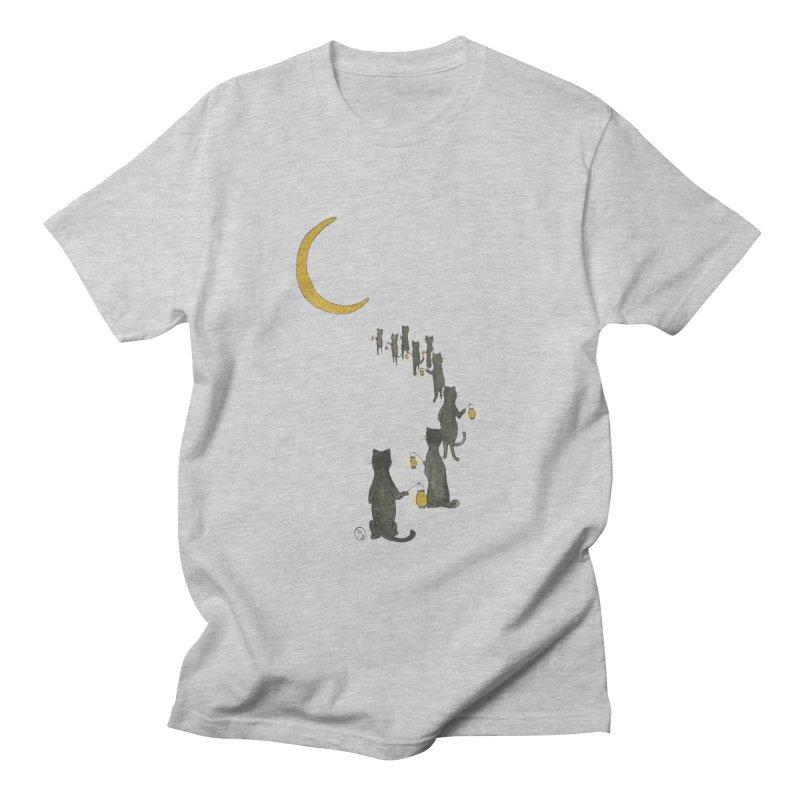 Neko Night Procession  Men's Regular T-Shirt by Stephanie Inagaki
