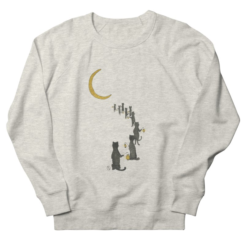 Neko Night Procession  Women's French Terry Sweatshirt by Stephanie Inagaki