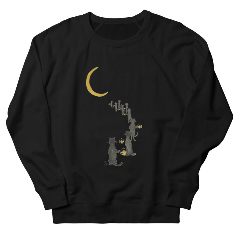 Neko Night Procession  Men's French Terry Sweatshirt by Stephanie Inagaki