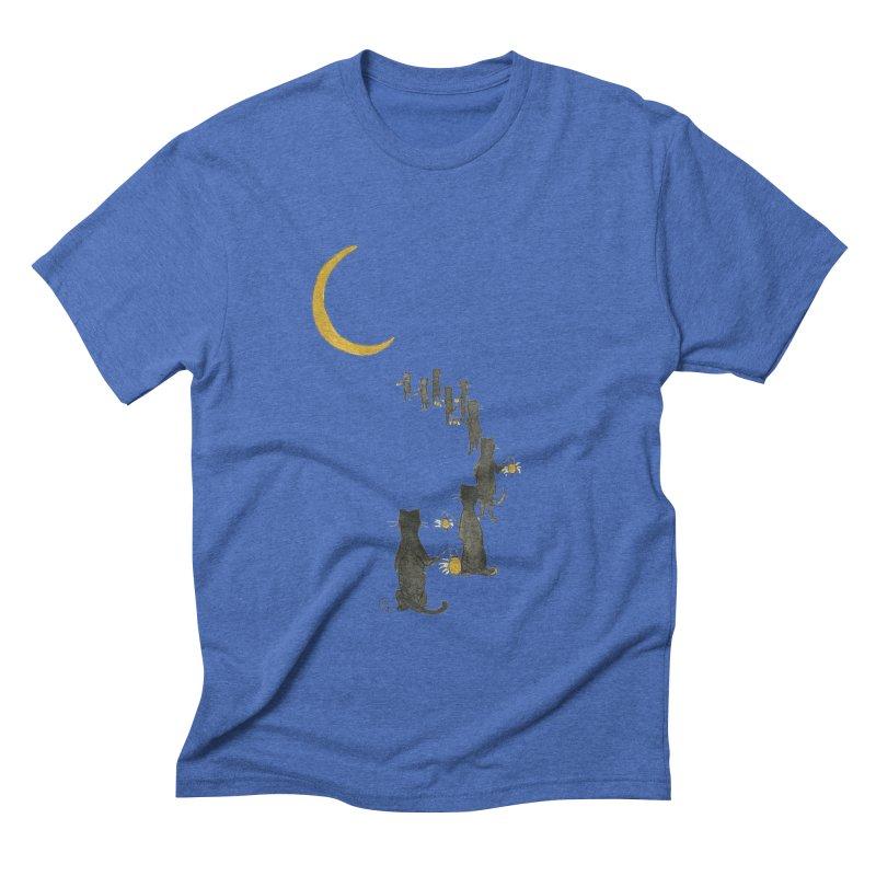 Neko Night Procession  Men's Triblend T-Shirt by Stephanie Inagaki