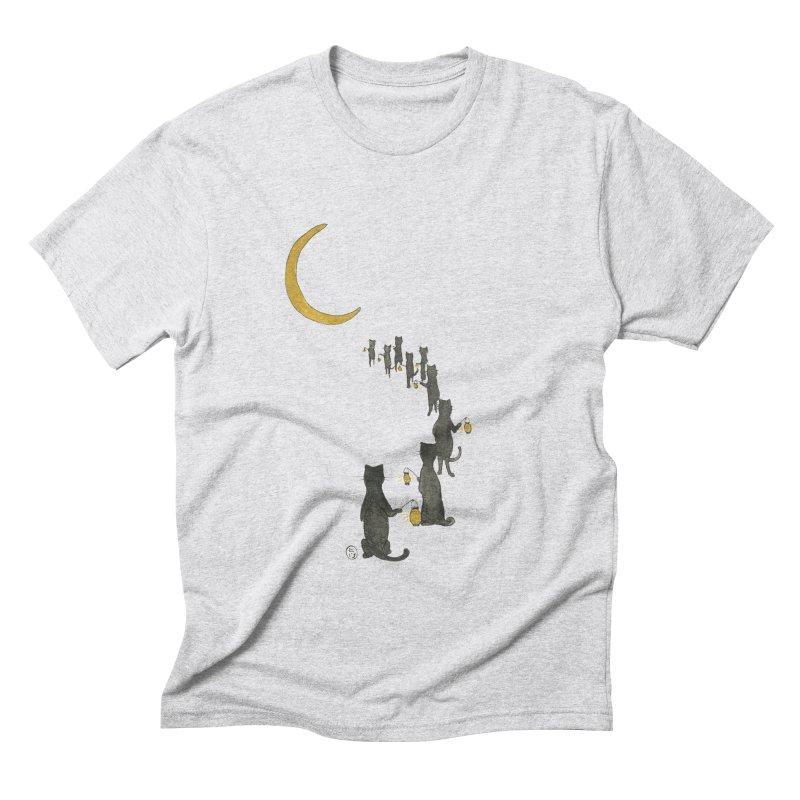 Neko Night Procession  Men's Triblend T-Shirt by stephanieinagaki's Artist Shop