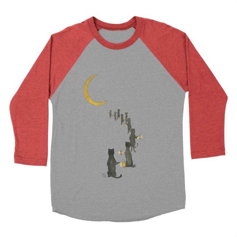 Neko Night Procession  Women's Baseball Triblend Longsleeve T-Shirt by Stephanie Inagaki