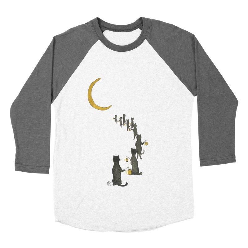 Neko Night Procession  Men's Baseball Triblend Longsleeve T-Shirt by Stephanie Inagaki