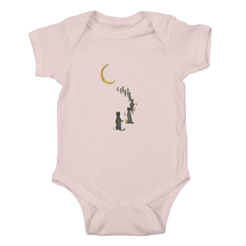 Neko Night Procession  Kids Baby Bodysuit by Stephanie Inagaki
