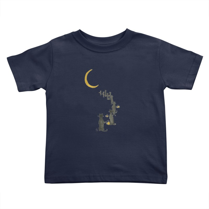 Neko Night Procession  Kids Toddler T-Shirt by Stephanie Inagaki
