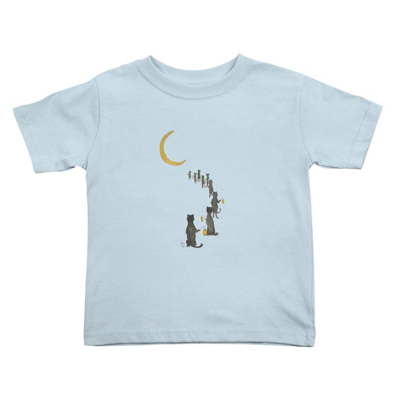 Neko Night Procession  Kids Toddler T-Shirt by Stephanie Inagaki