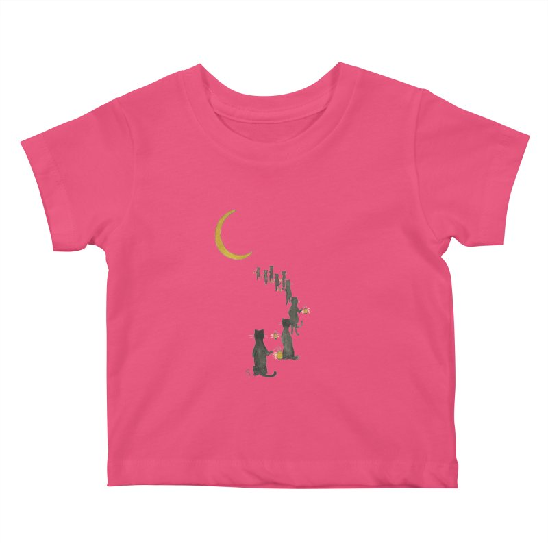 Neko Night Procession  Kids Baby T-Shirt by stephanieinagaki's Artist Shop