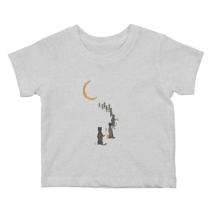 Neko Night Procession  Kids Baby T-Shirt by Stephanie Inagaki