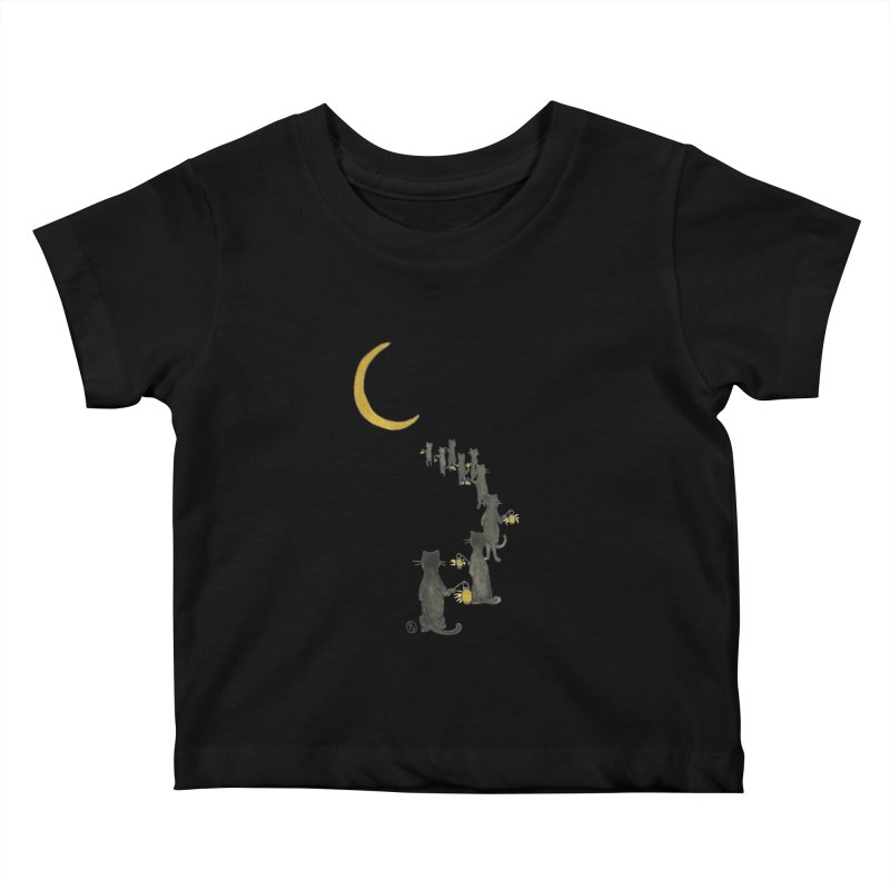 Neko Night Procession  Kids Baby T-Shirt by Stephanie Inagaki