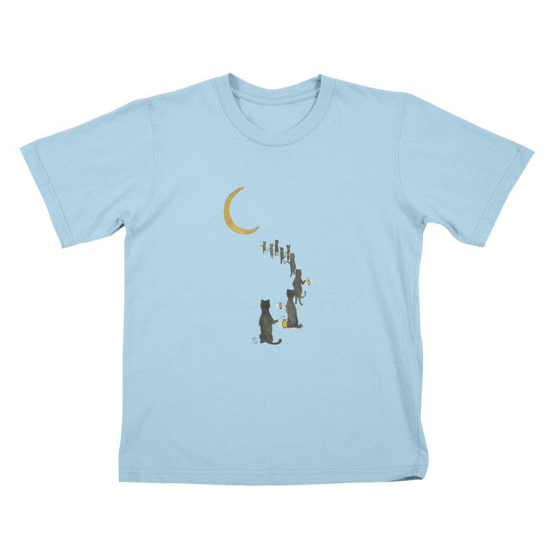 Neko Night Procession  Kids T-Shirt by Stephanie Inagaki