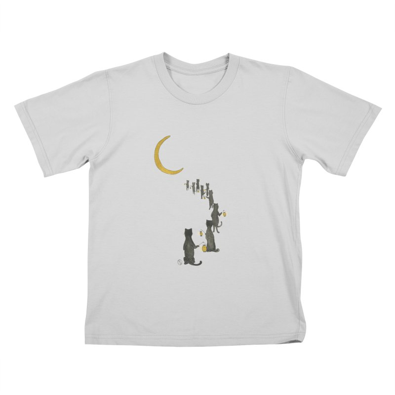 Neko Night Procession  Kids T-Shirt by Stephanie Inagaki