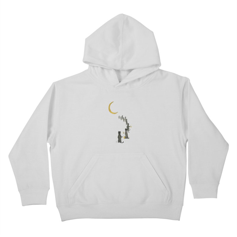 Neko Night Procession  Kids Pullover Hoody by Stephanie Inagaki