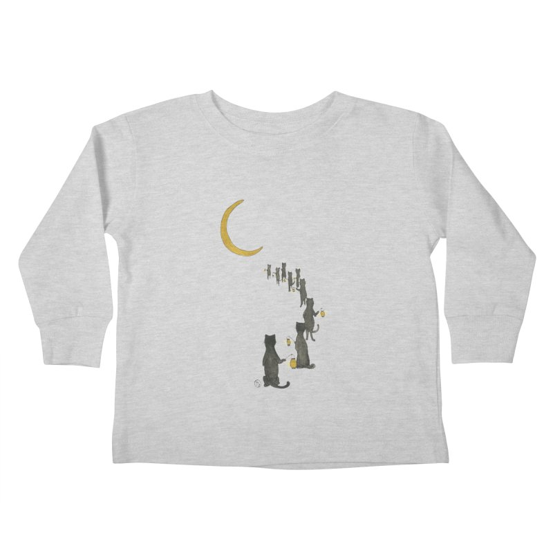 Neko Night Procession  Kids Toddler Longsleeve T-Shirt by Stephanie Inagaki