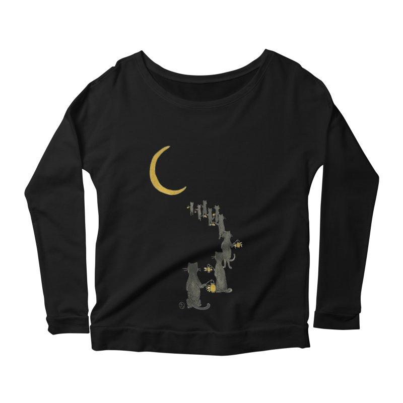 Neko Night Procession  Women's Scoop Neck Longsleeve T-Shirt by Stephanie Inagaki