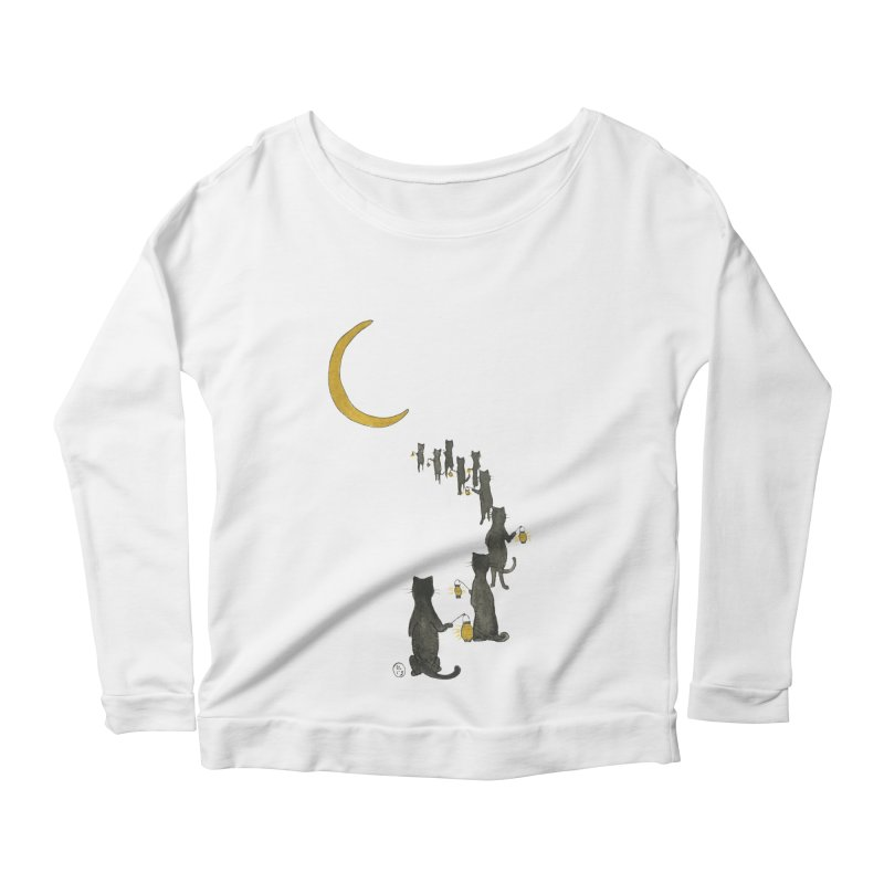Neko Night Procession  Women's Scoop Neck Longsleeve T-Shirt by Stephanie Inagaki