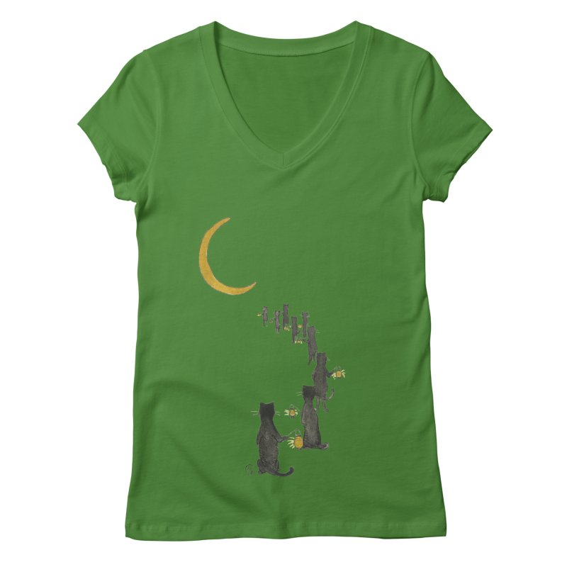 Neko Night Procession  Women's Regular V-Neck by Stephanie Inagaki