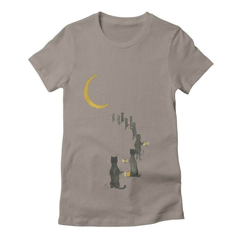 Neko Night Procession  Women's Fitted T-Shirt by Stephanie Inagaki